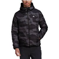 Hooded Zipped Padded Jacket in Camouflage Print