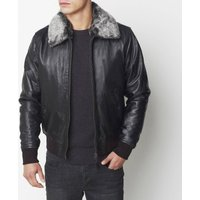 Leather Bomber Jacket with Removable Faux Fur Collar