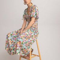 Floral Print Midaxi Dress with V-Neck and Short Sleeves