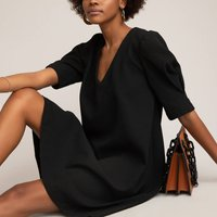 V-Neck Shift Dress with Short Puff Sleeves