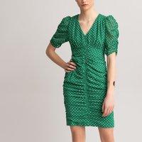 Polka Dot Print Dress with V-Neck and Short Sleeves