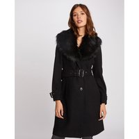 Wool Mix Coat with Faux Fur Shawl Collar
