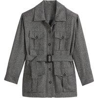 Herringbone Tweed Utility Jacket