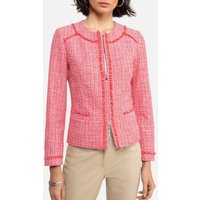 Short Fitted Tweed Jacket with Zip Fastening