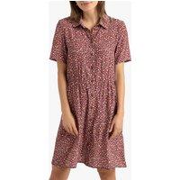 Printed Mini Shirt Dress with Short Sleeves