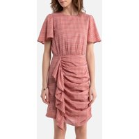 Checked Cotton Mix Dress with Ruffles and Short Sleeves.