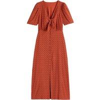 Polka Dot Midaxi Dress with V-Neck and Short Sleeves