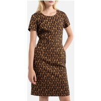 Jacquard Knee-Length Dress with Short Sleeves