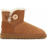 Ugg Kids Bailey Button II Suede Ankle Boots with Faux Fur Lining and Button