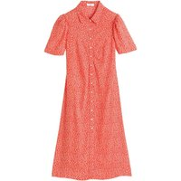 Cotton Midi Shirt Dress in Floral Print with Short Sleeves