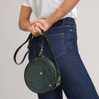 Recycled Crossbody Circle Handbag in Snake Print
