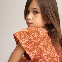 Organic Cotton Ruffle Dress in Leaf Print with Short Sleeves, 3-12 Years