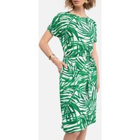 Knee-Length Dress in Tropical Leaf Print with Short Sleeves