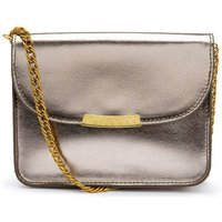 Leather Flap Bag with Gold Chain Shoulder Strap