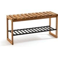 Kia Solid Oak and Metal Bench