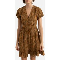 Printed Mini Dress with V-Neck and Short Sleeves