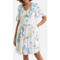 Floral Print Mini Dress with Short Sleeves and Pockets