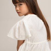Dotted Cotton Dress with Short Sleeves, 3-12 Years