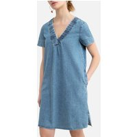 Denim Mini Dress with V-Neck and Short Sleeves