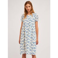 Cotton Knee-Length Dress in Bird Print with Short Sleeves