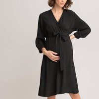 Maternity Wrapover Dress with Long Sleeves.
