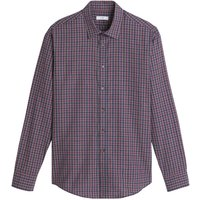 Gingham Print Cotton Shirt in Slim Fit with Long Sleeves
