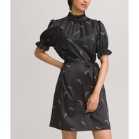 Floral Satin Mini Dress with High Neck and Short Puff Sleeves