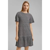 Graphic Print Mini Dress with Short Sleeves and Crew Neck