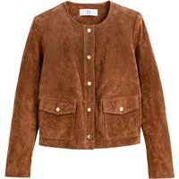 Suede Cropped Jacket with Press-Stud Fastening