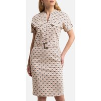 Printed Cotton Shift Dress with Short Sleeves