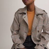 Long Checked Trench Coat