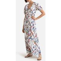 V-Neck Maxi Dress with Short Sleeves