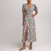 Floral Cotton Midaxi Dress with V-Neck and Short Puff Sleeves