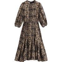 Zebra Print Midi Dress with Ruffles