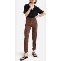 Straight High Waist Trousers in Floral Print.