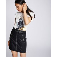 Faux Leather Mini Skirt with Zip and Belt