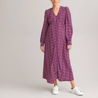 Floral Maternity Midaxi Dress with Puff Sleeves