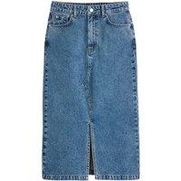 Straight Mid-Length Skirt in Denim