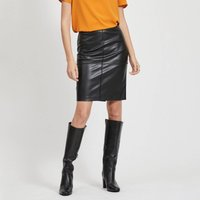 Vipen Knee Length Pencil Skirt in Faux Leather