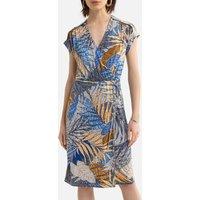 Leaf Print Midi Dress with Short Sleeves