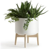 Florian Ceramic Planter with Wooden Stand