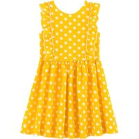 Polka Dot Linen Dress with Short Sleeves, 3-12 Years