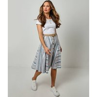 Striped Linen Mix Skirt with Belt and Button Fastening