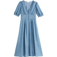 V-Neck Midaxi Dress with Short Puff Sleeves