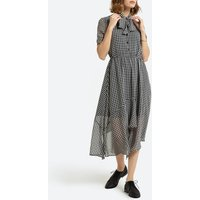 Checked Midi Dress with Pussy-Bow and Short Sleeves