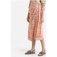 Cotton/Linen Wrapover Midi Skirt in Checked Print