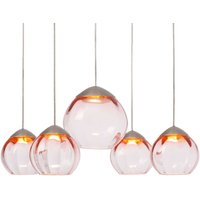 Round Soft LED hanging lamp 5 bulb pink lampshades