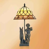 Hugo table lamp with resin figures  Tiffany style