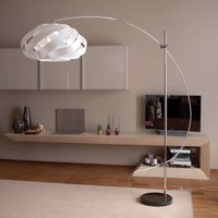 Arc lamp Plaza with a nest shaped lampshade  white