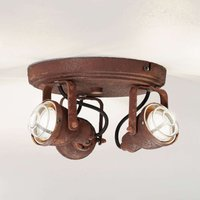 In popular rust finish   3 bulb ceiling lamp Bente
